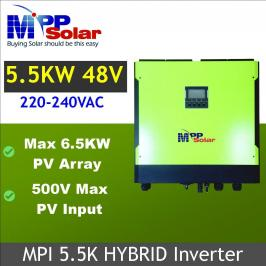 Invertor hibrid unda pura 5500W cu regulator MPPT 60A